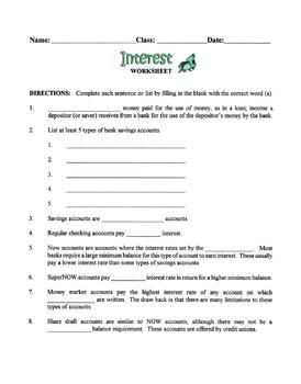 Interest & Bank Accounts Lesson