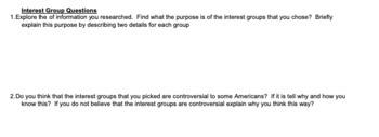 Interest Groups Activity - Google Docs