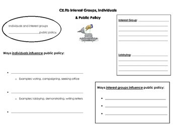 Interest Groups, Individuals, and Public Policy note page (CE.9b)