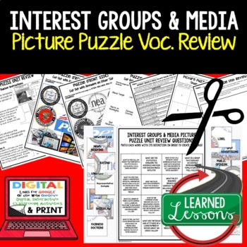 Interest Groups & Media Picture Puzzle Unit Review, Study Guide, Test Prep