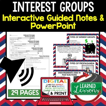 Interest Groups, Public Opinion Guided Notes & PowerPoints BUNDLE, Google