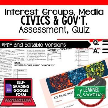 Interest Groups, Public Opinion Test, Quiz, Civics Assessment