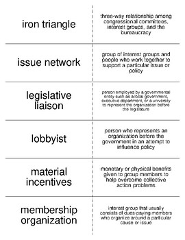 Interest Groups and Lobbying Vocabulary Flash Cards for American Government