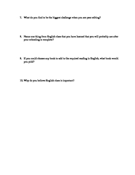 Interest Inventory Questionnaire for English Class