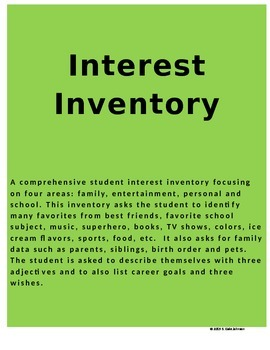 Interest Inventory for Students in Grades 6-12