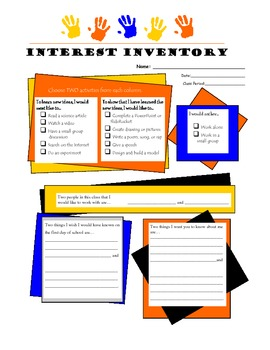 Interest Inventory for differentiation