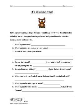 Interest survey- first day activity