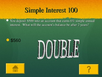 Interest,Tax,Percentages Jeopardy Game