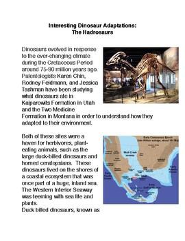 Interesting Dinosaur Adaptations:  The Hadrosaurs