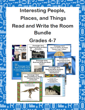 Interesting People, Places, and Things-Read and Write the Room Bundle Grades 4-7