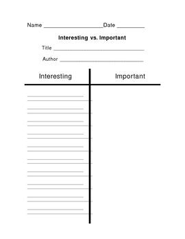 Interesting vs. Important Graphic Organizer