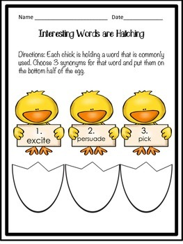 Interesting Words are Hatching Easter Synonyms