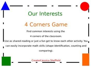 Interests Game (4 Corners)