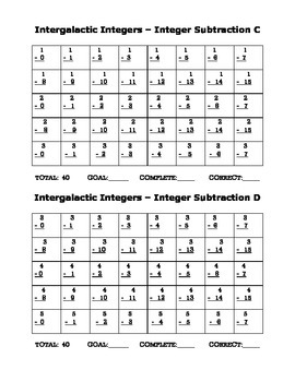 Intergalactic Integers - Subtracting Integers