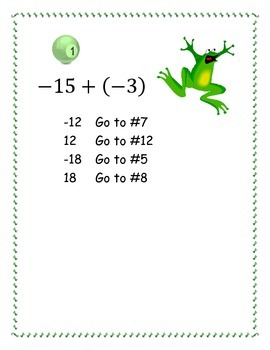 Integer Addition and Subtraction Trail activity