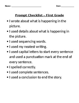 Interim Assessment Practice Test for Narrative Writing - First Grade