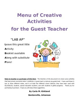 Interim Classroom Activities for the Substitute or Guest Teacher