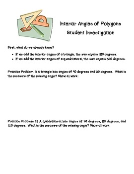 Interior Angles of Polygons- Student Investigation