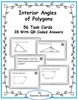 Interior Angles of Polygons Task Cards with QR Coded Answers