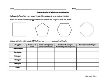 Interior Angles of a Polygon Investigation