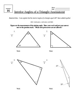 Interior Angles of a Triangle Assessment by Katrina Mitchell TpT