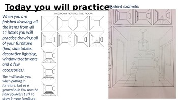 Interior Design 1 Point Perspective lesson.