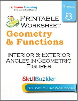 Interior & Exterior Angles in Geometric Figures Printable Worksheet, Grade 8