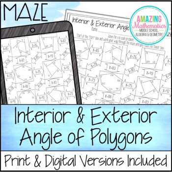 interior exterior angles of polygons maze beginner by amazing mathematics. Black Bedroom Furniture Sets. Home Design Ideas