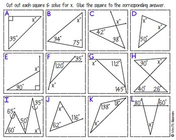 Interior & Exterior Angles of Triangles Matching Activity
