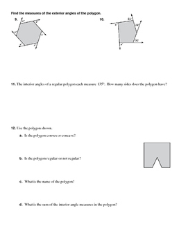 Interior and Exterior Angle Measures of Polygons Practice
