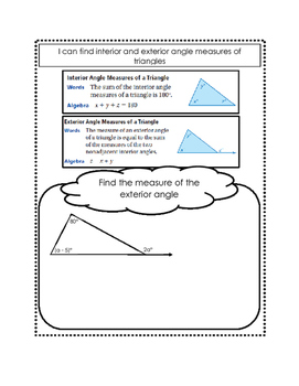 Interior and Exterior Angle Measures of Triangles Doodle Notes
