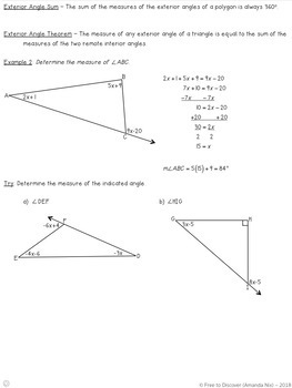 Interior and Exterior Angle Sums of Triangles Notes and Practice