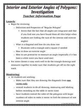 Polygons - Interior & Exterior Angles Of Polygons Investigation Act. & Homework