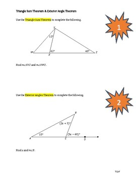 Interior and Exterior Angles in Triangles