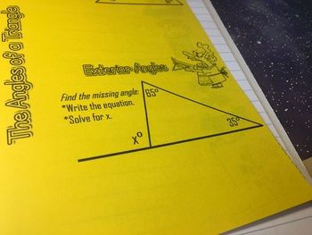 Interior and Exterior Angles in a Triangle Foldable Notes