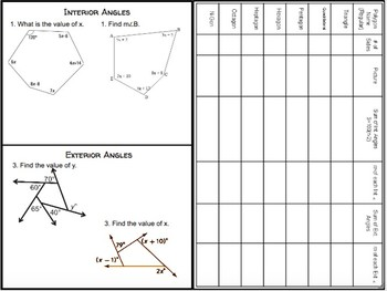 Interior and Exterior Angles of Polygons Notes