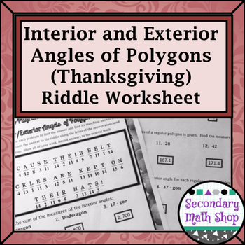 polygons interior and exterior angles thanksgiving practice riddle