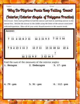 Polygons - Interior and Exterior Angles Thanksgiving Practice Riddle Worksheet