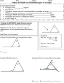 Interior and Exterior Angles of Triangles: Guided Notes & Matching Activity