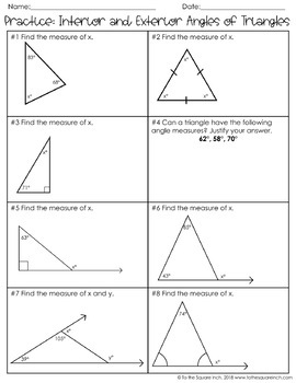 Interior and Exterior Angles of Triangles Notes TpT
