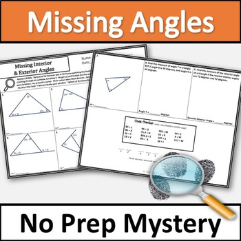 Interior and Exterior Angles of a Triangle Activity - No Prep Mystery!!