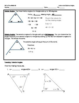 Interior and Exterior Angles of a Triangle Skill of the Week (WK 3)