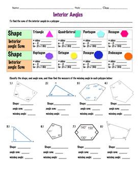 Interior angle sums ~ 8th Grade math