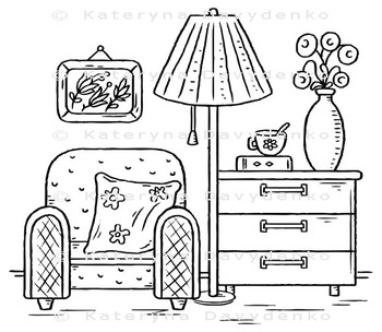 Interior drawing with an arm-chair, lamp and chest of drawers
