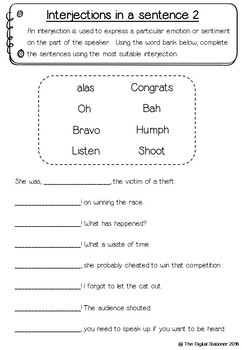 Interjection Packs (Parts of Speech) – 10+ worksheets/printables