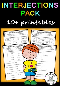 Interjection Pack (Parts of Speech) – 10+ worksheets/printables