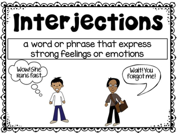 Interjections Poster and Task Cards
