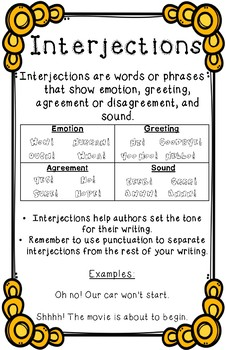 Interjections Anchor Chart