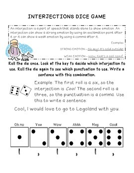 Interjections Dice Game