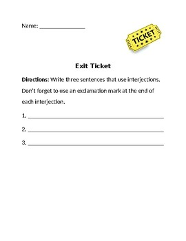 Interjections Exit Ticket